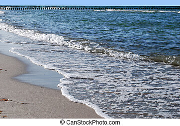 beach and waves at the baltic sea in zingst, germany