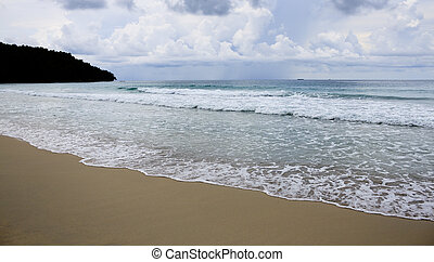 Beach and waves with gloomy sky