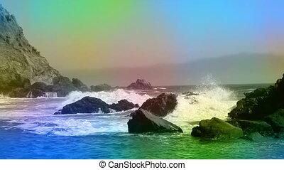 Beach animated color overlay - California beach ocean waves...