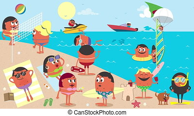 Animation of busy beach in the summer.