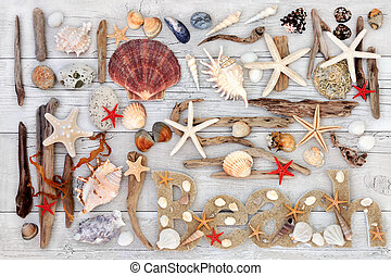 Beach Art Abstract Collage - Abstract collage with beach...