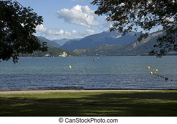 Beach at Annecy lake