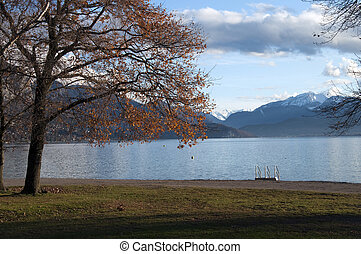 Beach at Annecy lake in winter