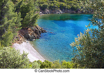 Beach at Chalkidiki in Greece - Remote beautiful beach at...