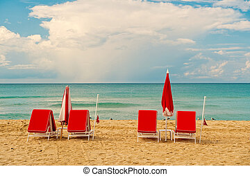 beach at sunny summer day at miami. south miami beach at sunny day. vacation and relax concept