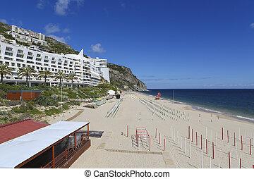 Beach at the Atlantic coast in Sesimbra, Portugal.