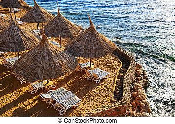 Beach at the luxury hotel, Sharm el Sheikh, Egypt