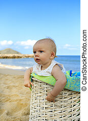 Beach baby in the basket