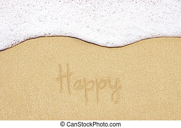 Beach background. Be Happy. - Beach background with happy...