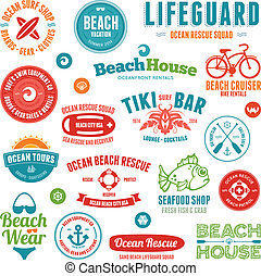 Beach badges and emblems - Set of beach and ocean style ...