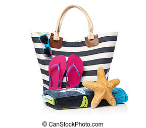 Beach bag and beach items