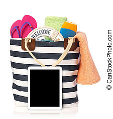 Beach bag and tablet