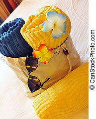 Beach bag and towels