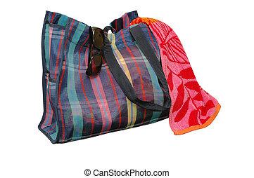 Beach Bag - Beach bag, sunglasses, and beach towel isolated ...