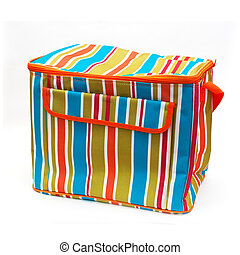Beach bag - Colorful striped beach bag, isolated on a white ...
