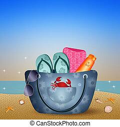 Beach bag on the beach