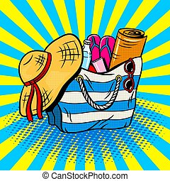 Beach bag pop art vector illustration