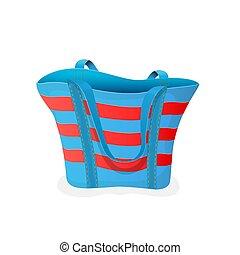 Beach bag - Striped blue-and-red bag, empty beach bag ...