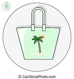 Beach bag vector flat illustration logo and icon