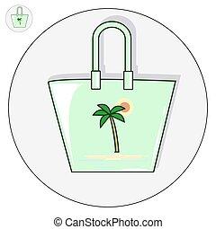 Beach bag vector flat illustration logo and icon