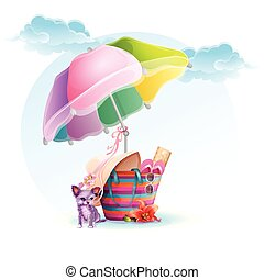 Beach bag with an umbrella and a dog