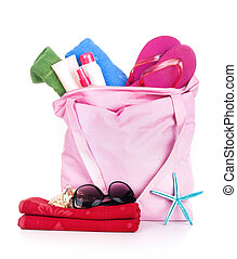 Beach bag with items