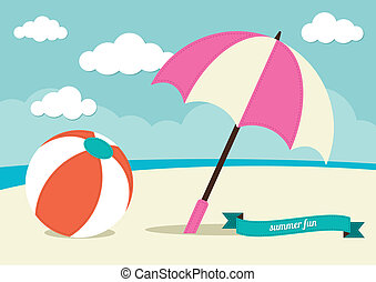 Beach Ball and Sun Umbrella