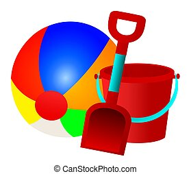 Illustration of an orange, blue, red, yellow, green and white beach ball, and a red and blue or aqua bucket and a spade.