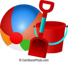 Beach Ball Bucket and Spade Vector - Vector illustration of...