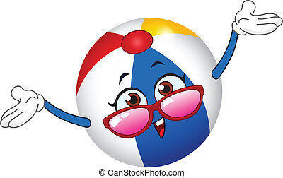 Beach ball - Cartoon beach ball raising her hands