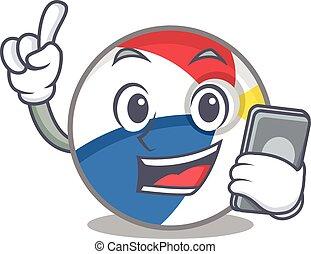 Beach ball Cartoon design style speaking on a phone