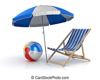 Beach Ball , Chair and Umbrella