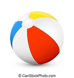 Beach ball - Colorful beach ball isolated on white...