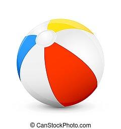 Beach ball - Colorful beach ball isolated on white...