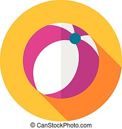 Beach Ball flat icon with long shadow