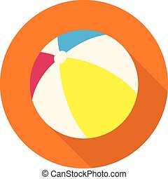 Beach ball. Flat icon with long shadow on orange round background. Flat design style. Vector illustration. EPS10.