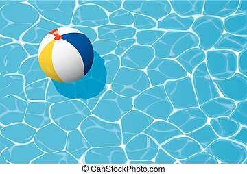 beach ball floating in a blue swimming pool. Summer background.