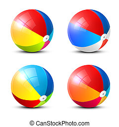 Beach Ball Icon. Colorful Vector Inflatable Balls Set Isolated on White Background.