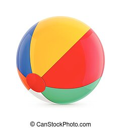 Beach Ball. Isolated Illustration on White Background.