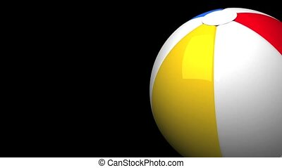 Beach ball on black text space. Loop able 3D render animation.