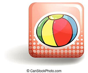 Beach ball on square badge