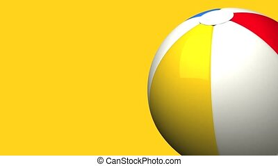 Beach ball on yellow text space. Loop able 3D render animation.