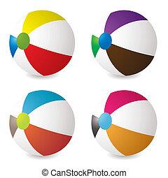 beach ball set - collection of beach balls with modern ...
