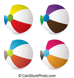 beach ball set - collection of beach balls with modern...