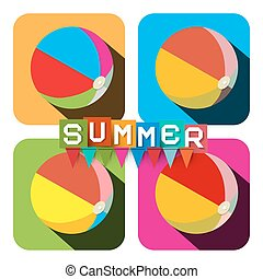 Beach Ball Set. Vector Flat Design Colorful Inflatable Balls - Summer Symbol with Flags.