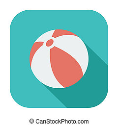 Beach ball. Single color flat icon. Vector illustration.