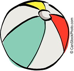 beach ball vector illustration sketch hand drawn with black lines isolated on white background