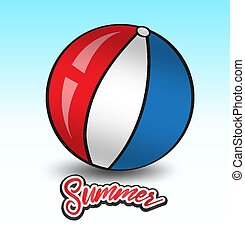 Beach ball vector illustration, vacation summer template, web icon