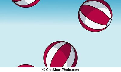 Beach balls background HD animation