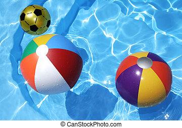 Beach Balls - Beach balls in blue pool